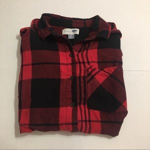 Old Navy Tops - Old Navy Red & Black Plaid Button Down Long Sleeve